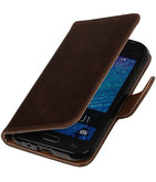 Mocca Pull-Up PU Hoesje voor Samsung Galaxy J1 2015 Booktype Wallet Cover