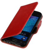 Rood Pull-Up PU Hoesje voor Samsung Galaxy J1 2015 Booktype Wallet Cover