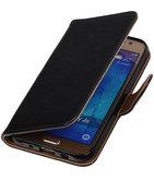Zwart Pull-Up PU Hoesje voor Samsung Galaxy J5 2015 Booktype Wallet Cover