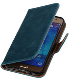 Blauw Pull-Up PU Hoesje voor Samsung Galaxy J5 2015 Booktype Wallet Cover
