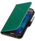 Groen Pull-Up PU Hoesje voor Samsung Galaxy J5 2015 Booktype Wallet Cover