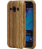 Verticale Hout TPU Cover Case voor Hoesje voor Samsung Galaxy J1 2015