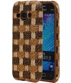Bruin Geweven Hout Design TPU Cover Case voor Hoesje voor Samsung Galaxy J1 2015