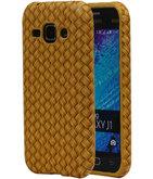 Goud Geweven Hout Design TPU Cover Case voor Hoesje voor Samsung Galaxy J1 2015