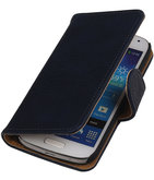 Blauw Hout Hoesje voor Samsung Galaxy S4 Mini i9190 Book/Wallet Case/Cover