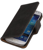Grijs Hout Hoesje voor Samsung Galaxy S4 Mini i9190 Book/Wallet Case/Cover