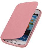 Polar Map Case Licht Roze Hoesje voor Samsung Galaxy S4 mini TPU Bookcover