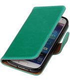 Groen Pull-Up PU booktype wallet cover voor Hoesje voor Samsung Galaxy S4 Mini