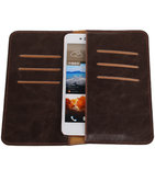 Mocca Pull-up Large Pu portemonnee wallet voor HTC