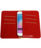 Rood Pull-up Medium Pu portemonnee wallet voor Samsung