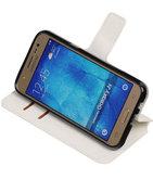 Wit Hoesje voor Samsung Galaxy J5 2015 TPU wallet case booktype HM Book