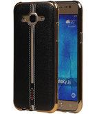 M-Cases Zwart Leder Design TPU back case voor Hoesje voor Samsung Galaxy J5 2015