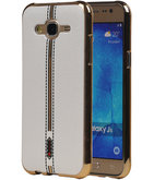 M-Cases Wit Leder Design TPU back case voor Hoesje voor Samsung Galaxy J5 2015