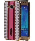 M-Cases Roze Paars Ruit Design TPU back case voor Hoesje voor Samsung Galaxy J5 2015