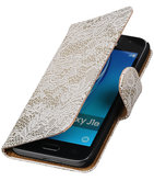 Wit Lace booktype cover voor Hoesje voor Samsung Galaxy J1 2015