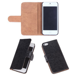 Eco-Leather Zwart Bookcase Hoesje voor Apple iPhone 5 5S