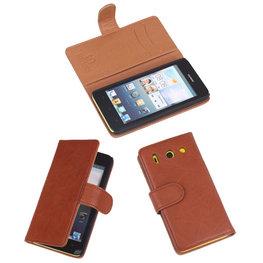 BestCases Bruin Luxe Echt Lederen Booktype Hoesje voor Huawei Ascend G510