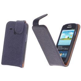 BestCases Navy Blue Kreukelleer Flipcase Hoesje voor Samsung Galaxy S3 Mini i8190