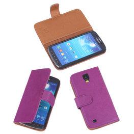 BestCases Lila Echt Leer Booktype Hoesje voor Samsung Galaxy S4 Active i9295