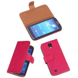 BestCases Fuchsia Echt Leer Booktype Hoesje voor Samsung Galaxy S4 Active i9295