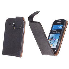 BestCases Zwart Kreukelleer Flipcase Hoesje voor Samsung Galaxy S Duos S7562