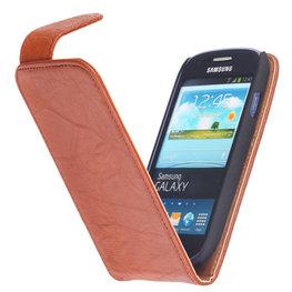 BestCases Bruin Kreukelleer Flipcase Hoesje voor HTC One M7