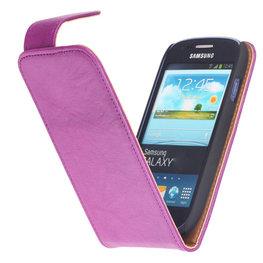 BestCases Lila Kreukelleer Flipcase Hoesje voor Samsung Galaxy Core i8260