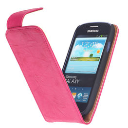 BestCases Fuchsia Kreukelleer Flipcase Hoesje voor Samsung Galaxy Core i8260