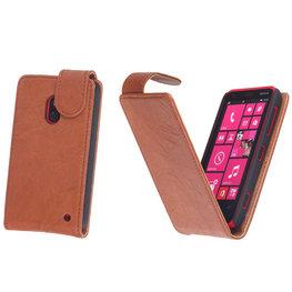 BestCases Bruin Kreukelleer Flipcase Hoesje voor Nokia Lumia 620