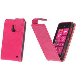 BestCases Fuchsia Kreukelleer Flipcase Hoesje voor Nokia Lumia 620