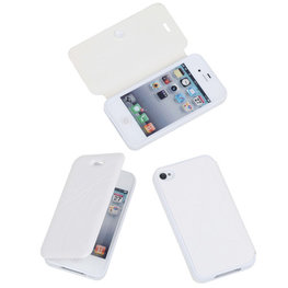 Bestcases Wit TPU Booktype Motief Hoesje voor Apple iPhone 4 4s
