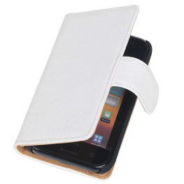 Bestcases Vintage Creme Book Cover Hoesje voor Samsung Galaxy Core i8260