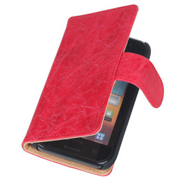 Bestcases Vintage Rood Book Cover Hoesje voor Samsung Galaxy Core i8260