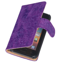 Bestcases Vintage Lila Book Cover Hoesje voor Samsung Galaxy Core i8260