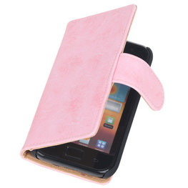Bestcases Vintage Light Pink Book Cover Hoesje voor Samsung Galaxy Core i8260