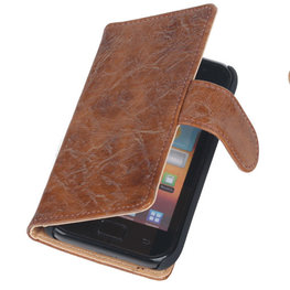 Bestcases Vintage Bruin Book Cover Hoesje voor Samsung Galaxy Core i8260