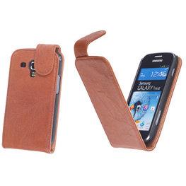 BestCases Bruin Kreukelleer Flipcase Hoesje voor Samsung Galaxy S Duos S7562