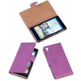 BestCases Lila Luxe Echt Lederen Booktype Hoesje voor Sony Xperia Z1