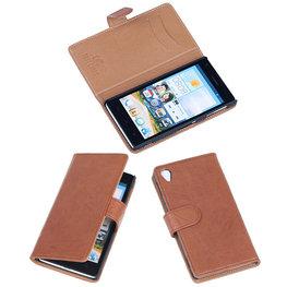 BestCases Bruin Luxe Echt Lederen Booktype Hoesje voor Sony Xperia Z1
