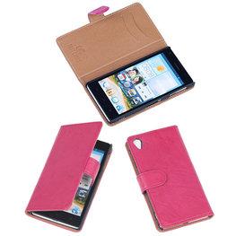 BestCases Fuchsia Luxe Echt Lederen Booktype Hoesje voor Sony Xperia Z1