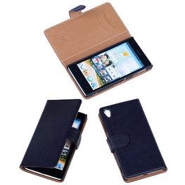 BestCases Zwart Luxe Echt Lederen Booktype Hoesje voor Sony Xperia Z1
