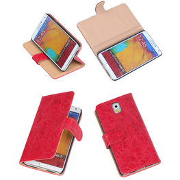 Bestcases Vintage Rood Book Cover Hoesje voor Samsung Galaxy Note 3
