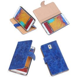 Bestcases Vintage Blauw Book Cover Hoesje voor Samsung Galaxy Note 3
