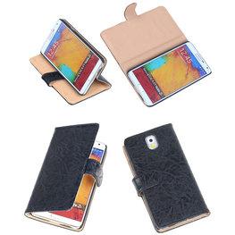 Bestcases Vintage Zwart Book Cover Hoesje voor Samsung Galaxy Note 3