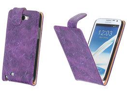 Bestcases Vintage Lila Flipcase Hoesje voor Samsung Galaxy Note 2 N7100