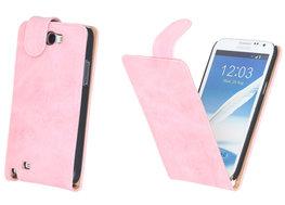 Bestcases Vintage Light Pink Flipcase Hoesje voor Samsung Galaxy Note 2 N7100