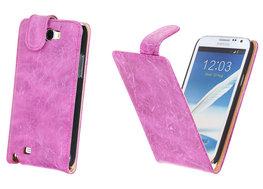 Bestcases Vintage Pink Flipcase Hoesje voor Samsung Galaxy Note 2 N7100