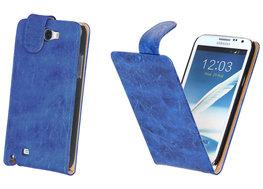 Bestcases Vintage Blauw Flipcase Hoesje voor Samsung Galaxy Note 2 N7100