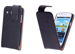 BestCases Zwart Kreukelleer Flipcase Hoesje voor Samsung Galaxy Core i8260