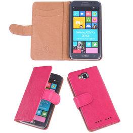 BestCases Luxe Echt Lederen Booktype Hoesje voor Samsung Ativ S Roze i8750